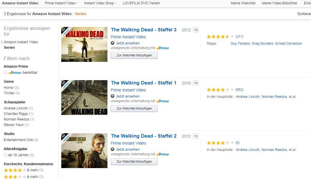 The Walking Dead Staffeln bei Amazon Prime Instant Video